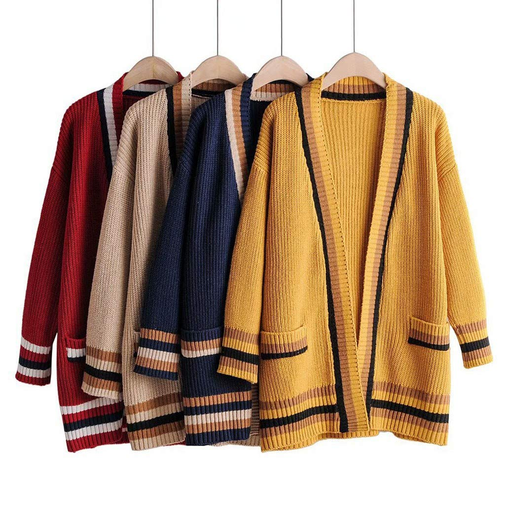 Ladies Colorful 1920s Sweaters and Cardigans History QIQIU Womens Color Splice Stripe Long Sleeve Open Front Sweater Fashion Cardigan Winter Autumn Coat $17.50 AT vintagedancer.com