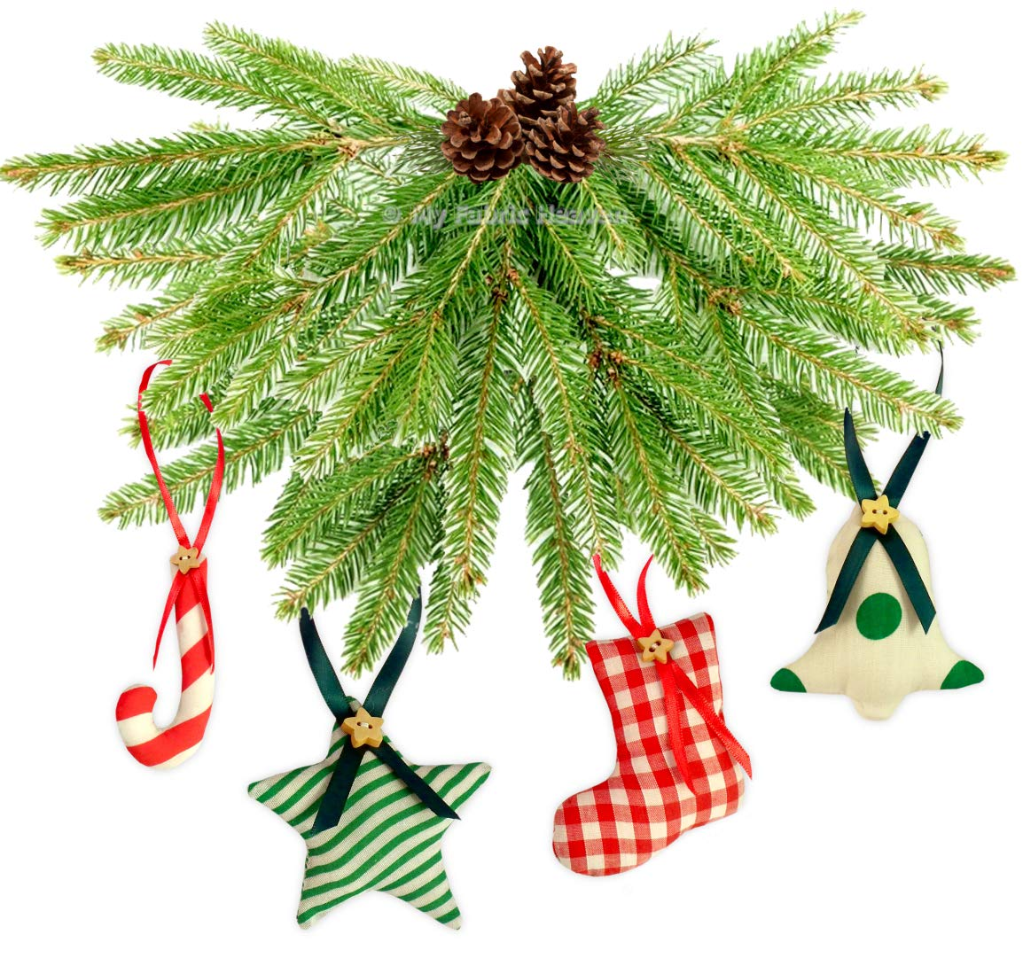 Christmas Tree Pattern.6 X Fabric Christmas Tree Decorations Ornaments Handmade