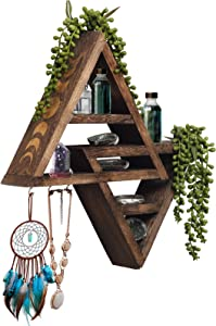FM Moon Phase Triangle Shelf with Hooks - Rustic Moon Shelf for Crystals- Hanging Crystal Display Shelf - Wooden Jewelry Hanger Key Holder - Aesthetic Room Decor - Boho Moon Decor - Vintage Wall Decor