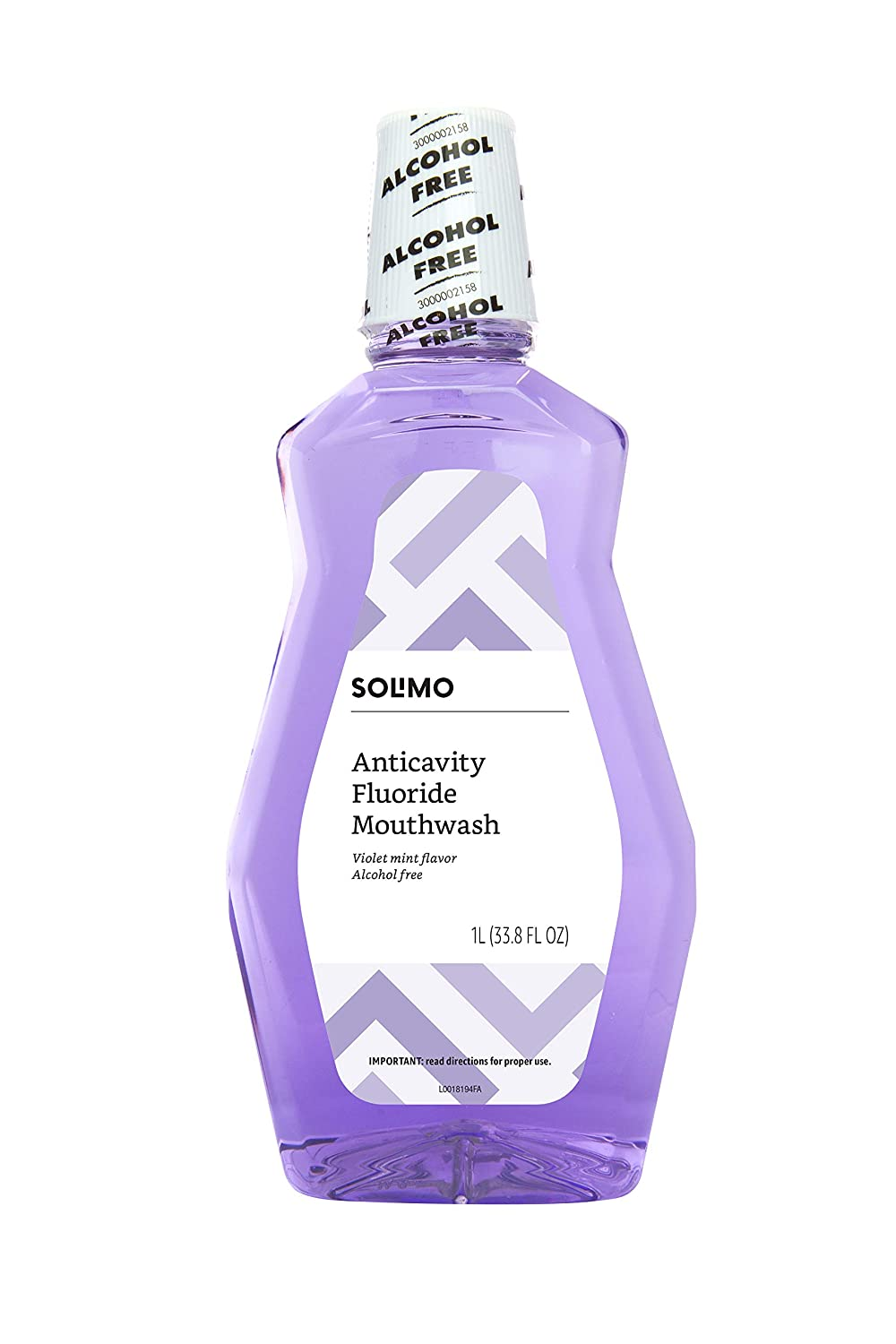 Amazon Brand - Solimo Anticavity Fluoride Mouthwash, Violet Mint, Alcohol Free, 1 Liter