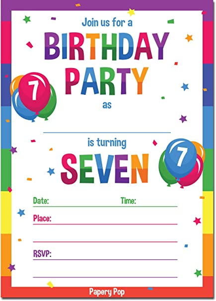 Papery Pop 7th Birthday Party Invitations With Envelopes 15 Count