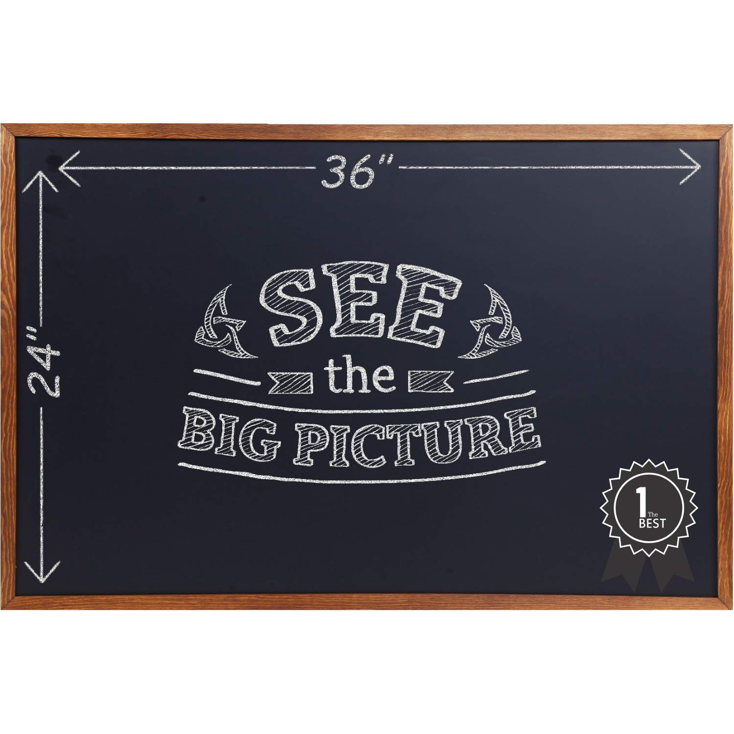 Wood Framed Chalkboard - Large Premium Magnetic 36 x 24 Rustic Chalk Board, Great with Regular or Liquid Chalk Markers, Nonporous Wall Hanging Blackboard Sign