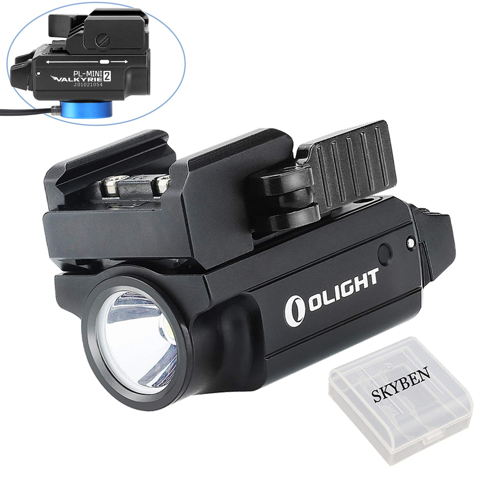 Olight PL-MINI 2 Valkyrie 600 Lumens Cree XP-L HD CW LED Modular Weaponlight Magnetic Rechargeable with Adjustable Rail,Powered by a Built-in Polymer Battery, with SKYBEN Battery Case(Black) by OLIGHT