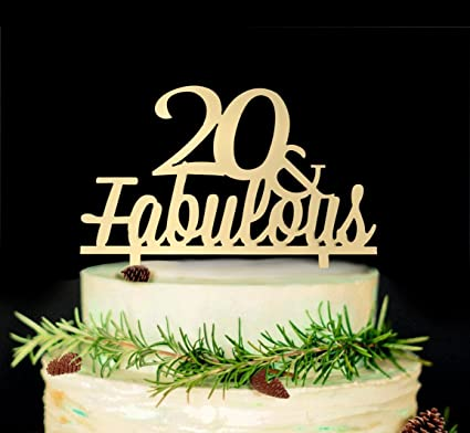 JustParty 20 Fabulous Cake Topper 20th Birthday Wedding Anniversary Party Decor Gold
