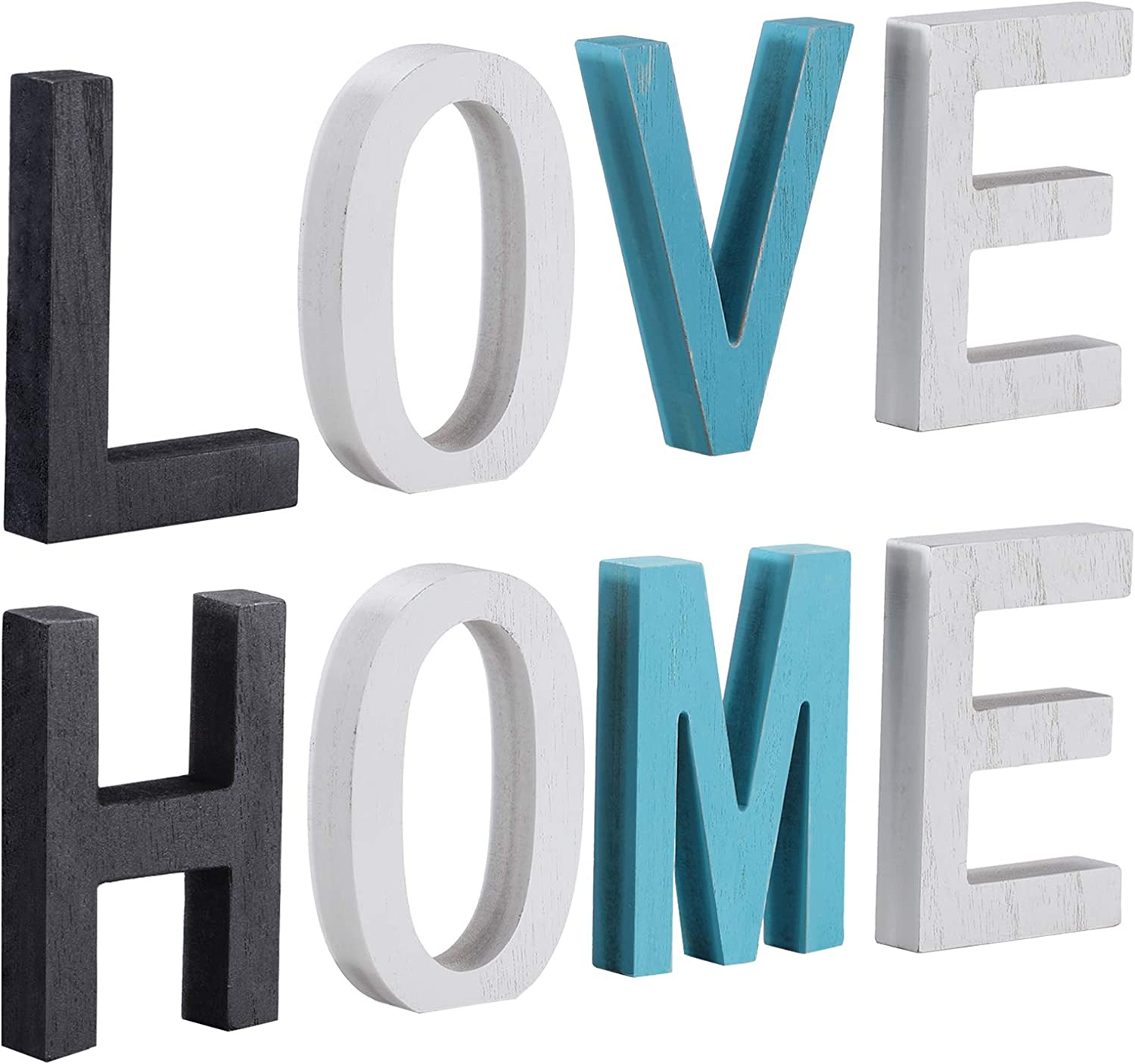 Wood Home Signs Rustic Wood Love Sign Freestanding Wooden Letters Cutout Word Table Multicolor Decor Centerpiece for Home Table Fireplace Mantel Decor
