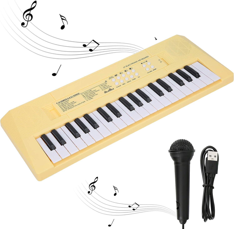 BF-3738 piano eléctrico con teclado de 37 teclas con micrófono y teclado musical y regalo de juguete para principiantes, niños y estudiantes(Amarillo)