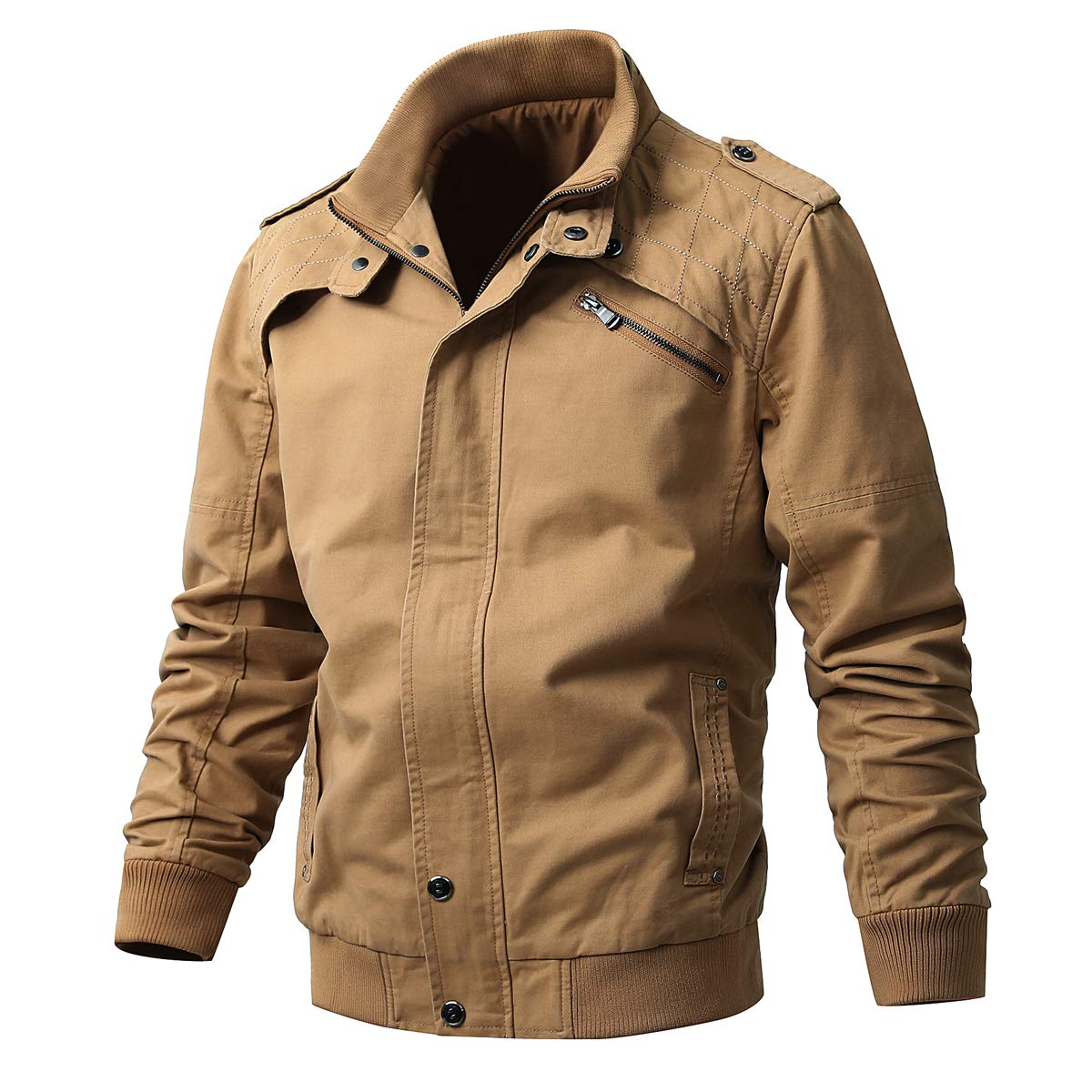 Men's Casual Winter Cotton Military Zip Jackets Windproof Outdoor Coat Windbreaker(JK1813Khaki-XL) by ZhaoDe