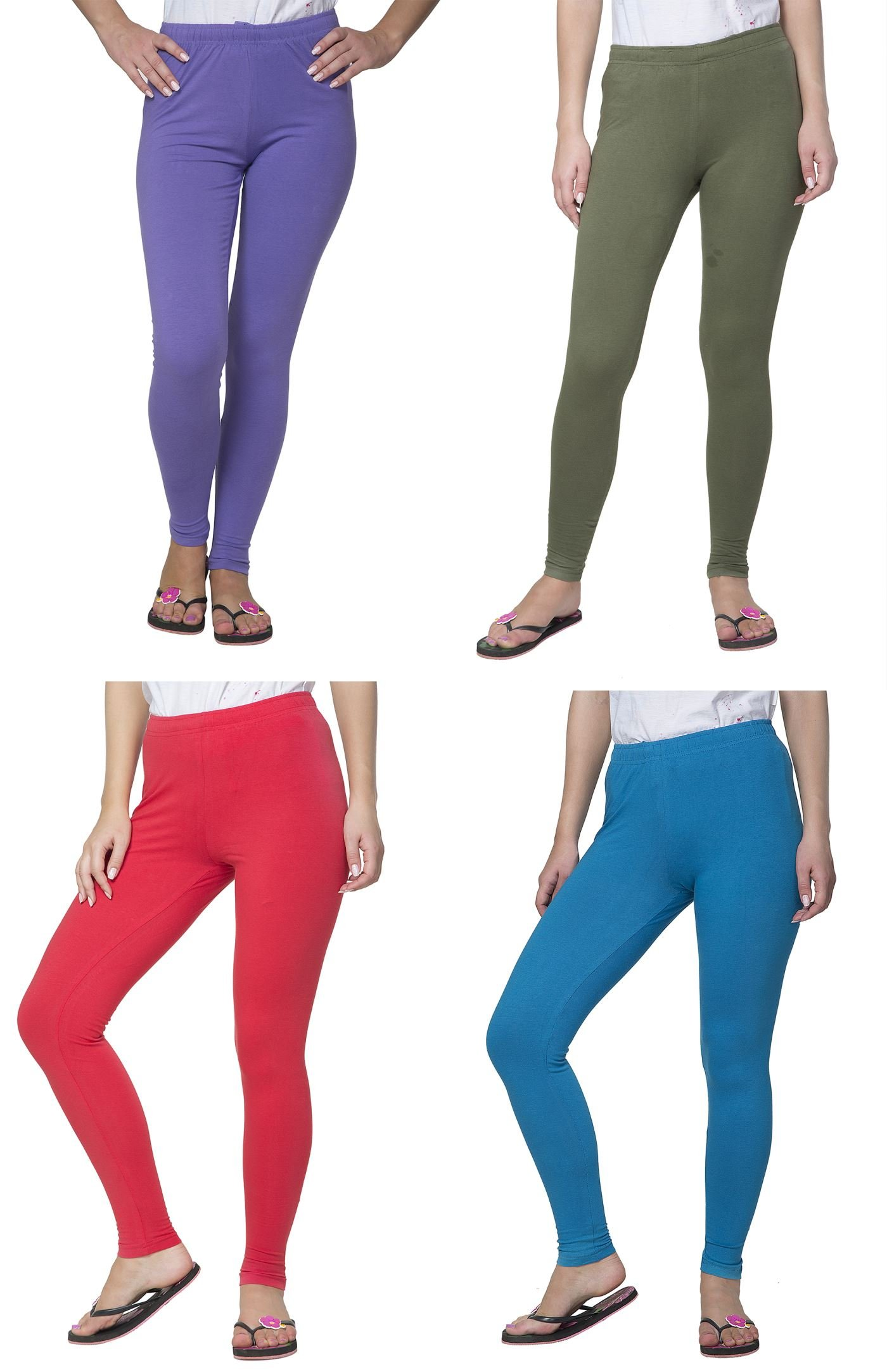Clifton Women's Cotton Spandex Fine Jersey Leggings Pack of 4-Assorted-1-2XL