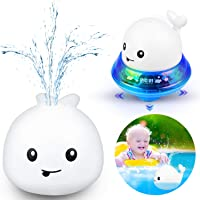 Bath Toys 2 in 1 Bathroom Spray Water Toy Automatic Induction Whale Sprinkler with LED Light Musical Fountain Toy Water…