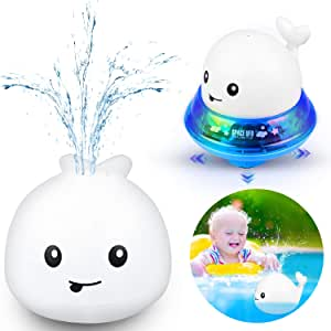 Bath Toys 2 in 1 Bathroom Spray Water Toy Automatic Induction Whale Sprinkler with LED Light Musical Fountain Toy Water Float Toys Spray Bathtub Toys for Toddlers Baby Boys Girl (White)