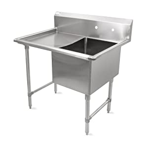 "John Boos B Series Stainless Steel Sink, 14"" Deep Bowl, 1 Compartment, 24"" Left Hand Side Drainboard, 52"" Length x 29-1/2"" Width"