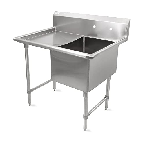 John Boos B Series Stainless Steel Sink, 14 Deep Bowl, 1 Compartment, 24 Left Hand Side Drainboard, 52 Length x 29-1 2 Width