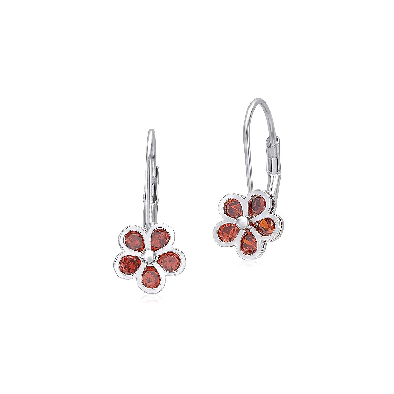 UNICORNJ 925 Sterling Silver 5 Petal Flower Leverback Earrings with CZ