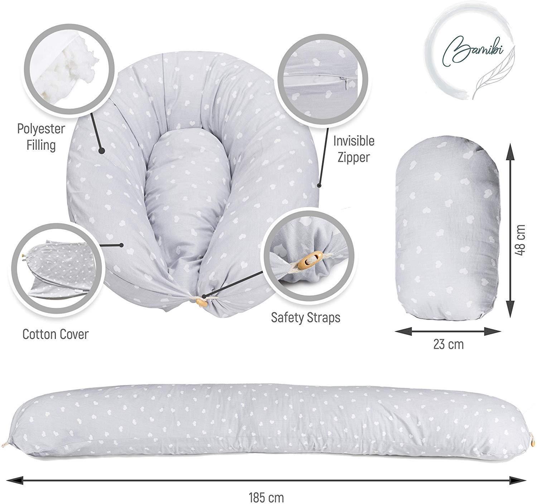 Bamibi /® Fundas Coj/ín Embarazo y lactancia Multifuncional 100/% algod/ón removible y lavable