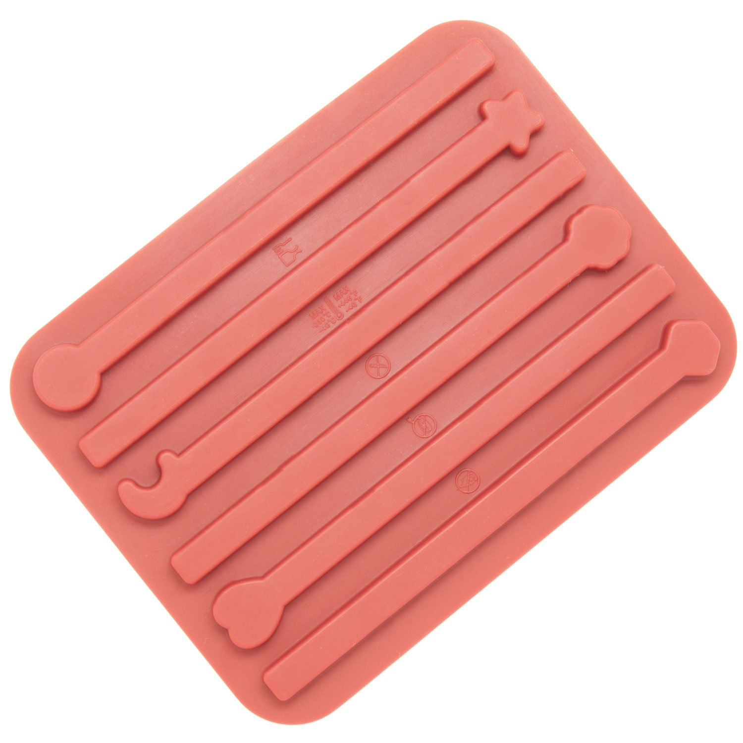 Freshware CB-602RD 6-Cavity Silicone Stick Chocolate Candy and Gummy Mold Inc
