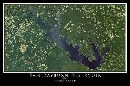 Amazon Com Sam Rayburn Lake Texas Satellite Poster Map M 16 X 24