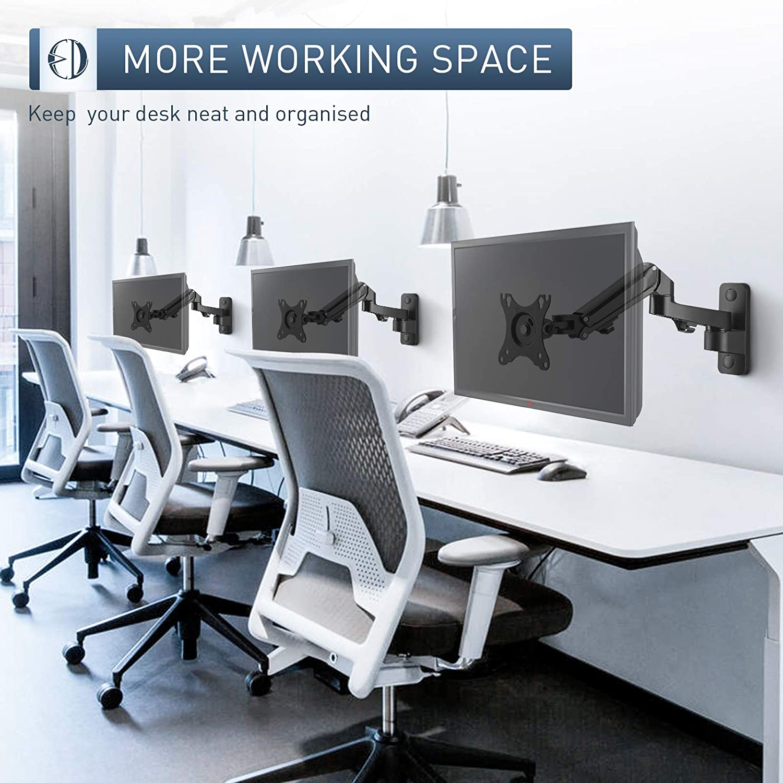 WORLDLIFT Support Mural Moniteur pour PC et TV Bras Unique R/églable Supporte Moniteur de 7 kg VESA 75 x 75/mm et 100 x 100/mm /Écrans de 17 /à 27