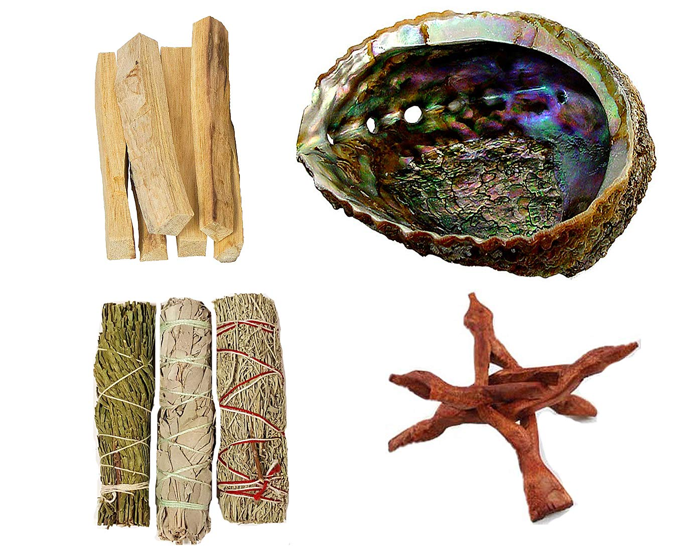 Clarity & Muse Sage Smudge Stick Kit - White Sage, Palo Santo Sticks, Cedar, Blue Sage, Abalone Shell for smudging - House Blessing Kit by Clarity & Muse