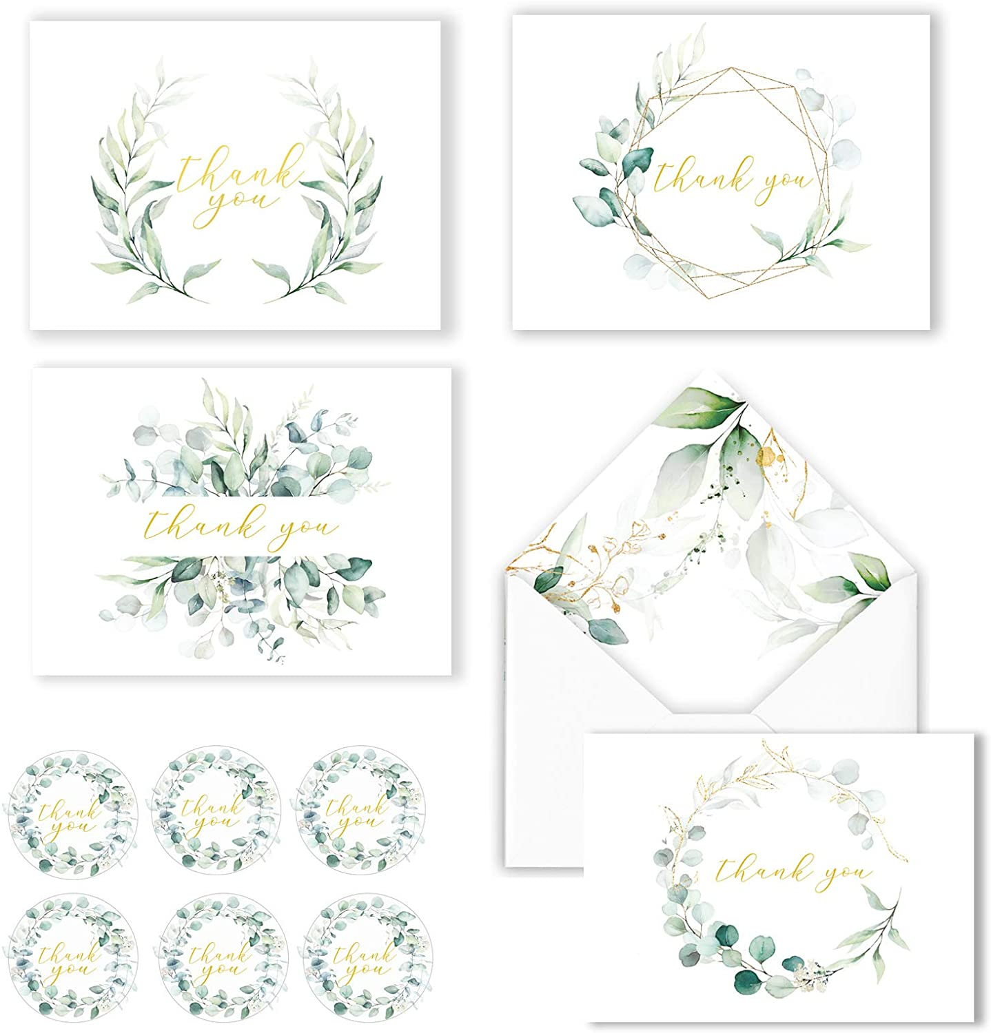 100 Eucalyptus Gold Foil Thank You Cards Bulk - Blank Note Cards with Greenery Envelopes – Include Stickers, Perfect for Wedding,Baby Shower, Bridal Shower and All Occasions