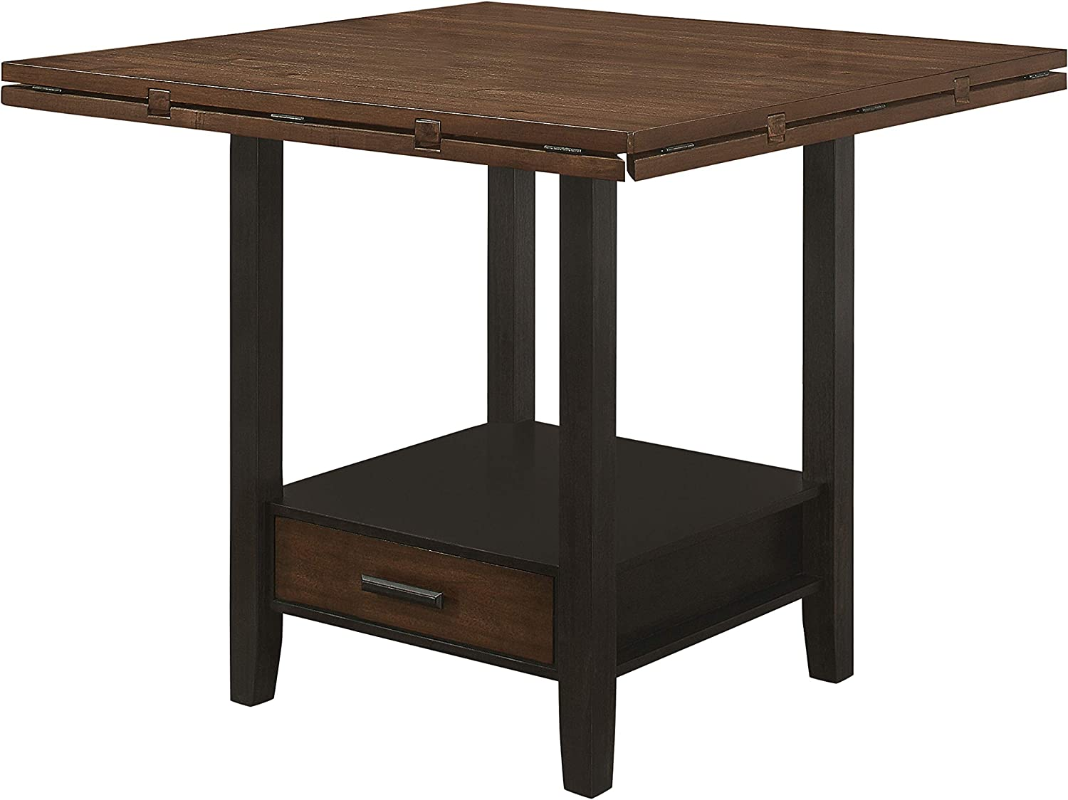Coaster Home Furnishings Sanford Round Height Drop Leaf Cinnamon and Espresso Counter Dining Table