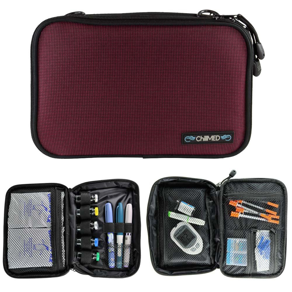 ChillMED Elite Diabetic Insulin Cooler Bag Travel Case with Two 6oz Cold Packs (Burgundy) 10'' x 7'' x 3''