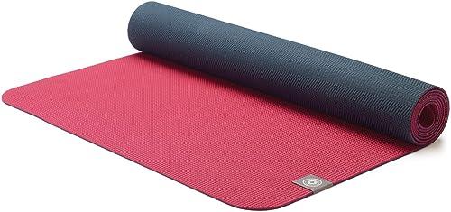 MERRITHEW Eco Yoga Mat TPE Maroon Charcoal , 0.125 inch 3 mm