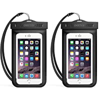 Universal Waterproof Case, CHOETECH 2Pack Clear Transparent Cellphone Waterproof, Dustproof Dry Bag with Neck Strap compatible with iPhone XS/XS Max/XR, iPhone X/8/8 Plus/7/7 Plus/6s Plus, Samsung Galaxy S9//S8/S7and All Devices Up to 6 Inches (Black+Black)