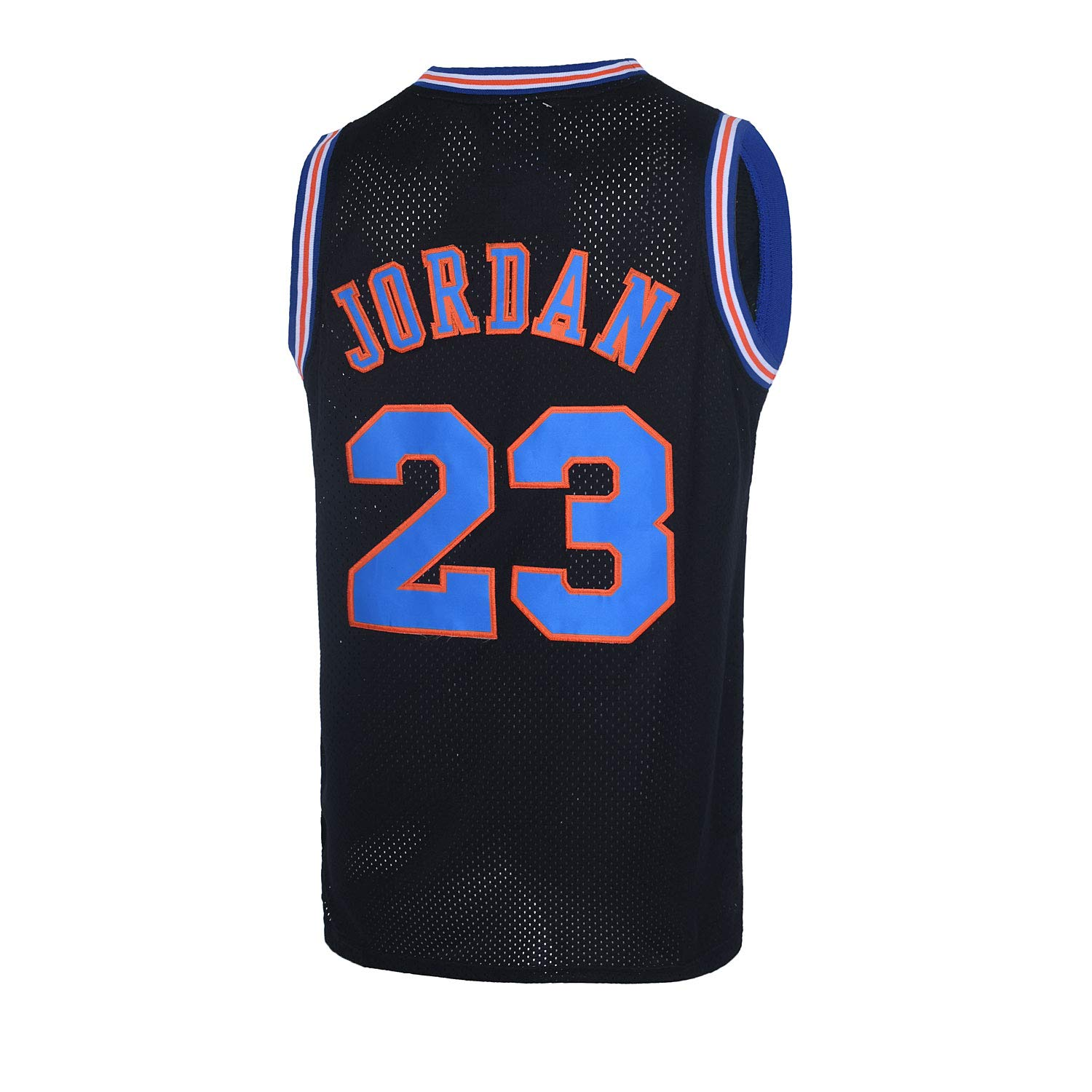 CAIYOO Mens 23# Space Movie Jersey Basketball Jersey S-3XL White/Black/Blue
