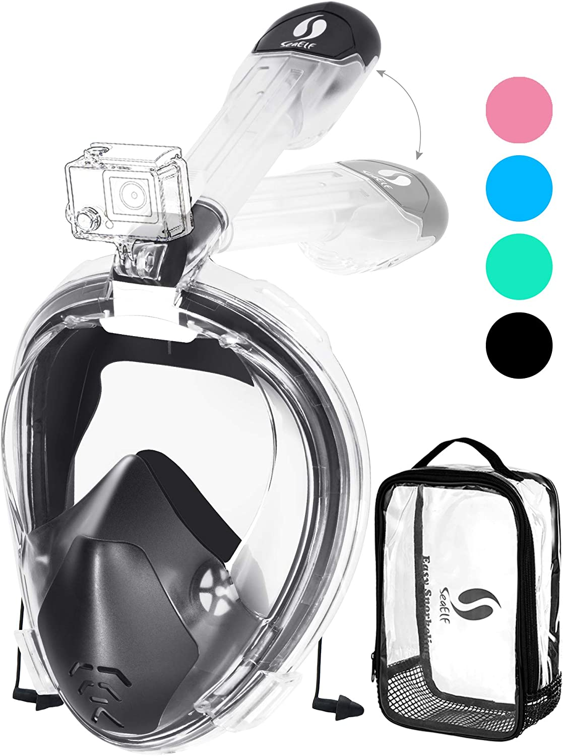 Full Face Snorkel Mask Easybreath Foldable Anti-UV Ear Equalizer 180° Panoramic Seaview Anti-Leak Anti-Fog with Camera Mount Earplugs Portable Bag for Adult Youth Kid