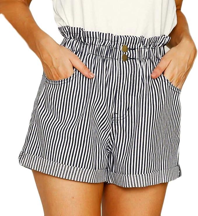 QinMMROPA Pantalones Cortos Rayas para Mujer, pantalón Botones ...
