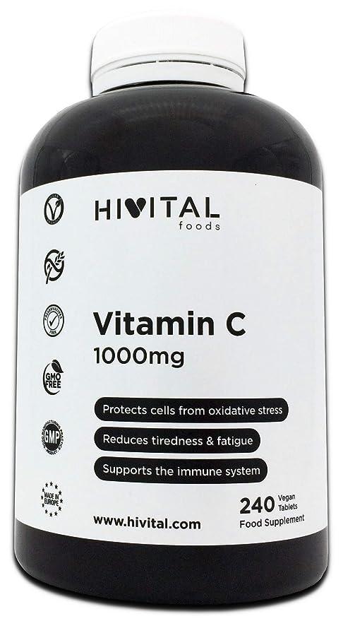 Vitamina C 1000 mg | 240 comprimidos (Suministro para 8 meses) | Reduce el
