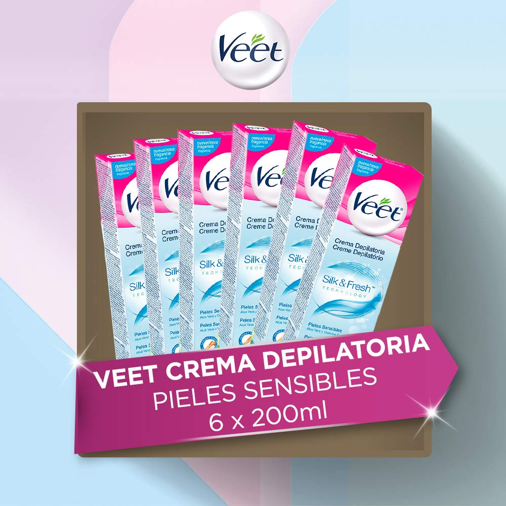 Veet - Crema depilatoria para piel sensible, 6 x 200 ml