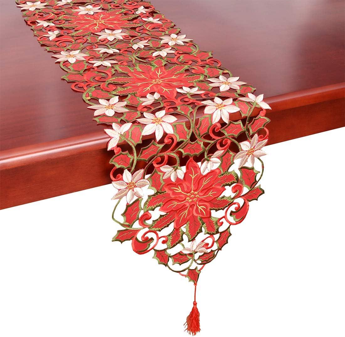 """Embroidered Dresser Scarf Doily Christmas Gold Mistletoe 34/"""" Table Runner"""
