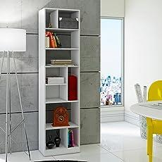 BRV BE 839-06 Librero Alto con 7 Repisas y 3 Divisiones, Mueble para Armar, color Blanco