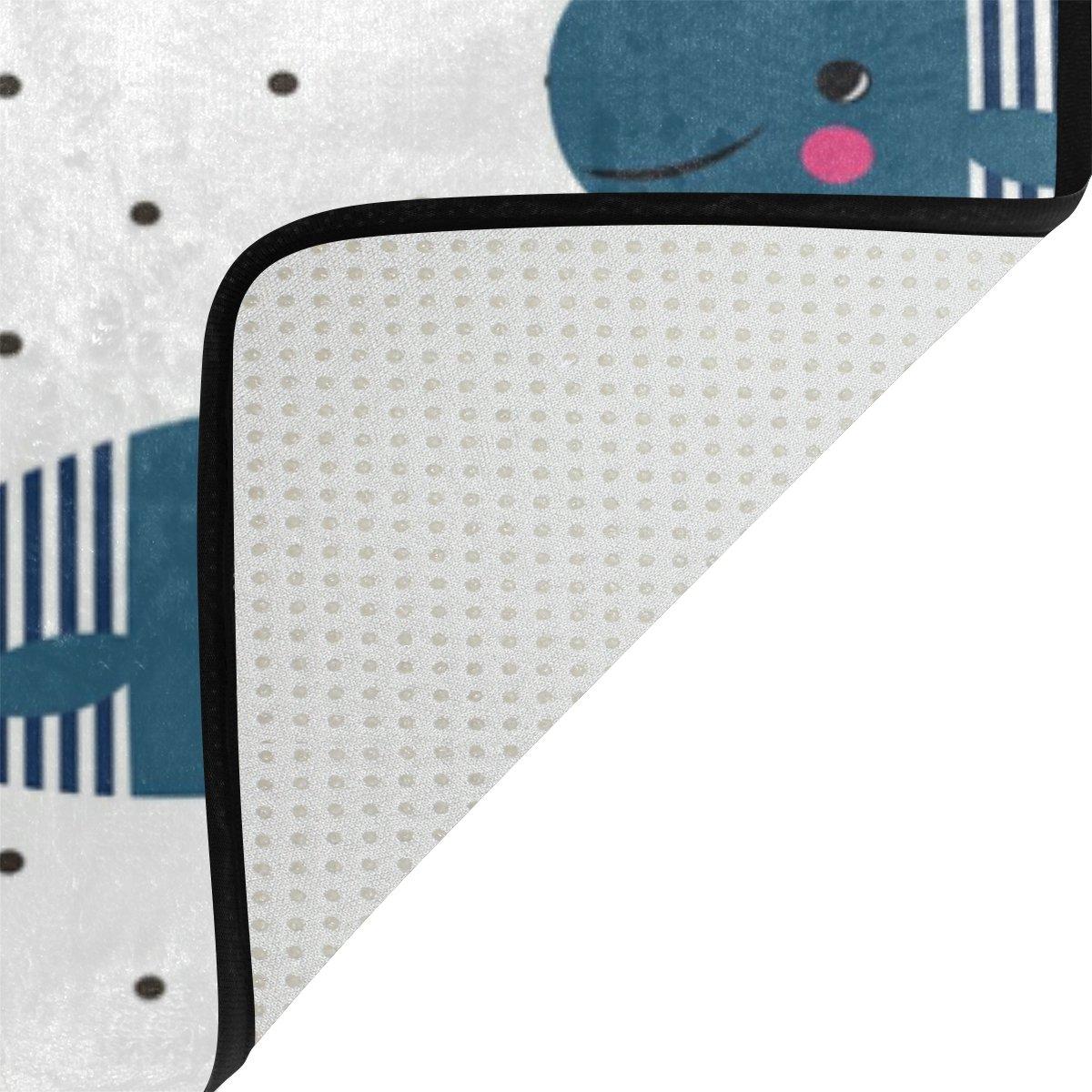 WOZO Cartoon Ocean Sea Animal Whale Polka Dot Area Rug Rugs Non-Slip Floor Mat Doormats Living Room Bedroom 31 x 20 inches