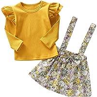 Haokai 0-6 T Baby Mädchen Langarm Tops T-Shirt Strampler Blumenrock Kleid Outfits für Kleinkinder Kleinkind