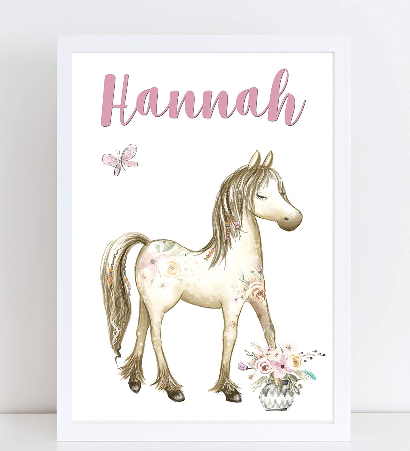 Personalised Pony Print for Kids A4 or A3 Pink Floral Boho Horse Name Print