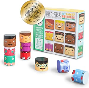 My Family Builders Friends Edition Diversity Building Blocks with Magnets – Build Little People Figures for Cultural Inclusion and Empathy – 16 Piece Wooden Blocks for Multiracial Play Figures