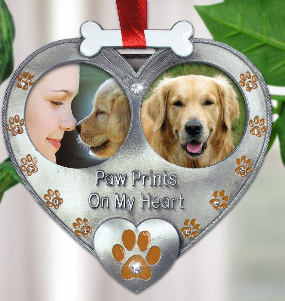 Amazon.com: Dog Photo Ornament - Double Picture Pet Ornament - Paw ...
