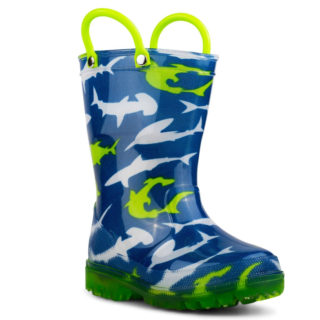 Chillipop Light Up Rainboots for Boys, Girls and Toddlers with Fun Kid Prints with ''5 Lights'' Shark Blue 7 M Toddler by Chillipop (Image #2)