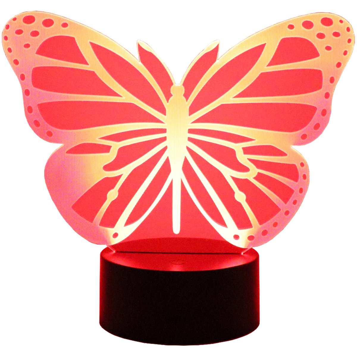 Hguangs 3D Lamp Butterfly Shape Night Lamp 3D Optical Illusion Night light Desk Table Light 7 Colors Changing Touch Control Gift for Christmas Birthday Valentine's Day Kids Children Girl and Boy