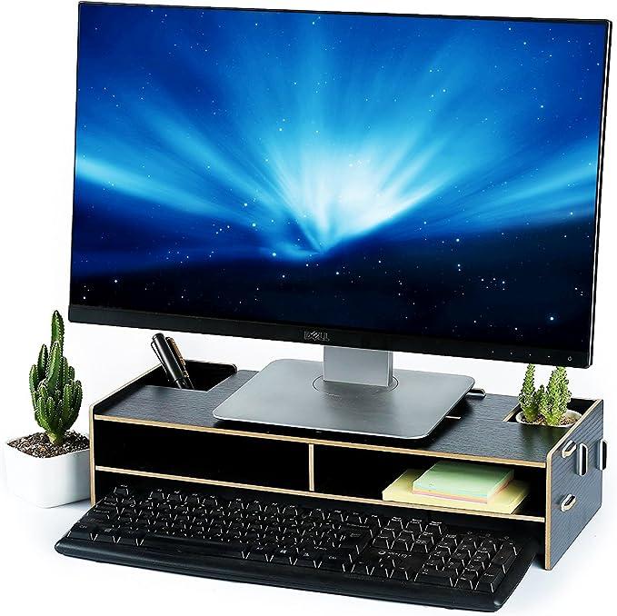7life de cartón elevador de Monitor del ordenador 2 cajones estantes soporte de monitor espacio de almacenamiento con la pluma ranuras, teclado carta bandeja archivo Holder, color black color 18.9