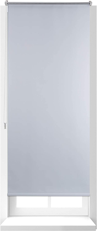Relaxdays Estor Opaco Enrollable sin Taladrar, Tela-Aluminio, Ancho Tejido 66 cm, 70 x 160 cm, Blanco, 70 X 160