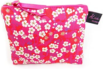 25f0d4590758 Liberty Fabric Small Flat PurseCosmetic Make Up Bag Mitsi Hot Pink
