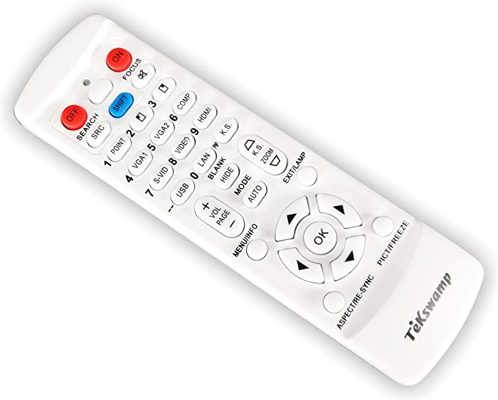 TeKswamp Video Projector Remote Control (White) for Acer H5380BD