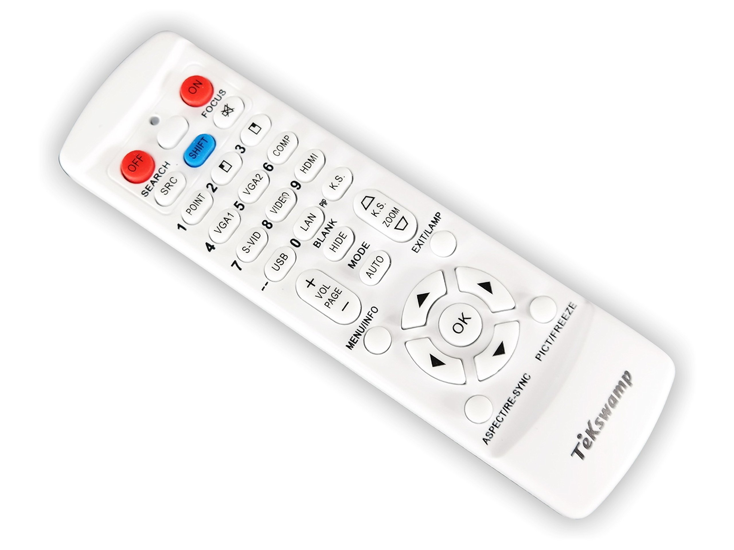 TeKswamp Video Projector Remote Control (White) for Mitsubishi WD570U by Tekswamp
