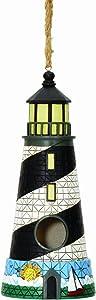 Spoontiques Lighthouse Birdhouse, Black/White