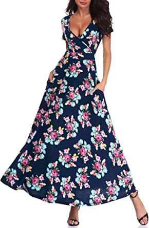 HUHOT Women Floral Short Sleeves V Neck A Line Unique Cross Wrap Summer Long Maxi Dresses with Pockets