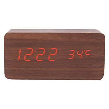 Home Decor Botique Wood Cube Led Alarm Control Digital Desk Clock Wooden Style Room Temperature White Wood White Led Clocks