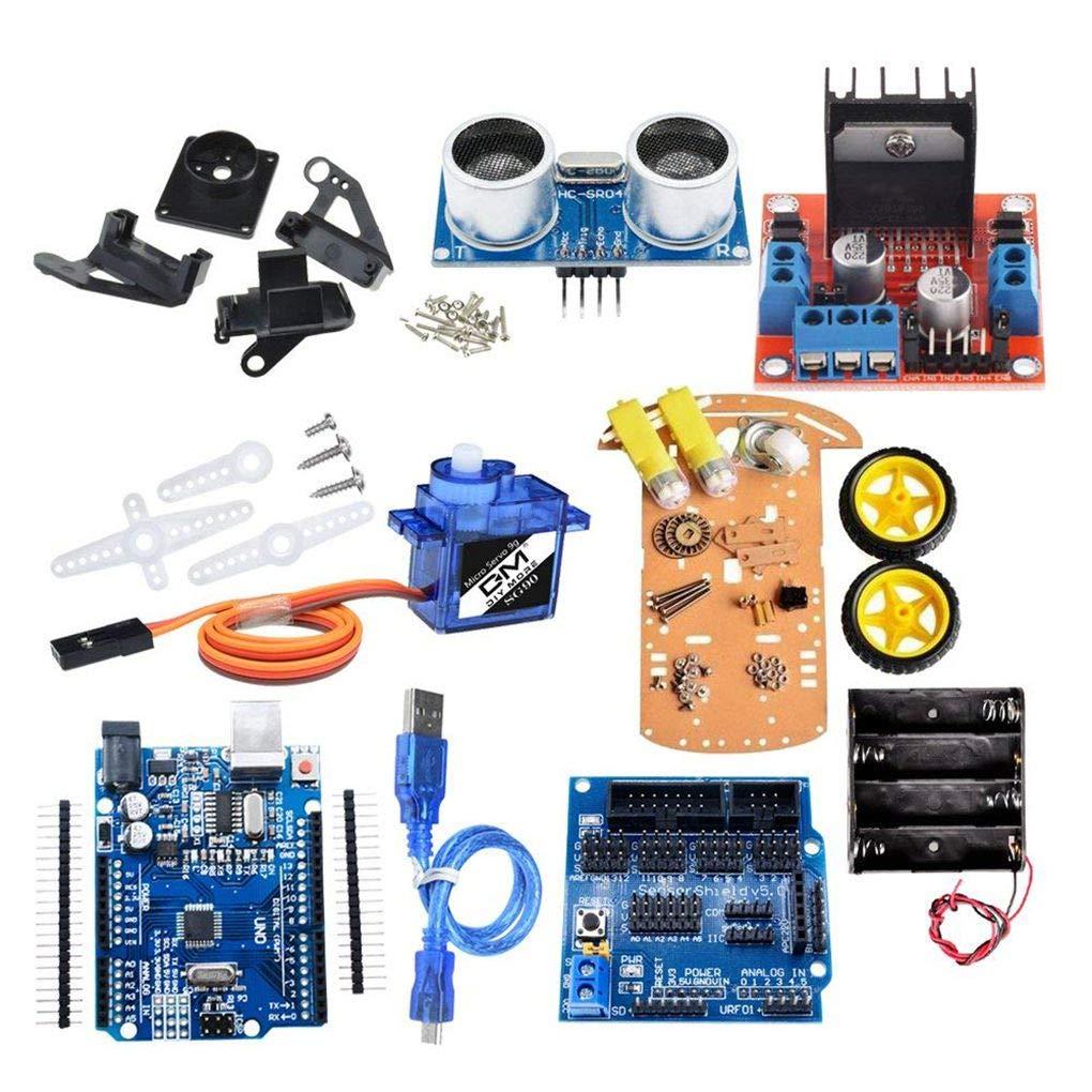 2-Wheel Smart Robot Car Chassis Kit Speed Encoder Sonic Sensor Tracking Motor Module Compatible for Arduino Project Regard Regard Natral